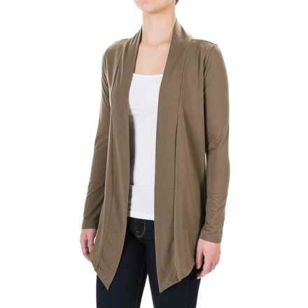 Knit Open-Front Cardigan Shirt - Long Sleeve (For Women) in Coffee - 2nds
