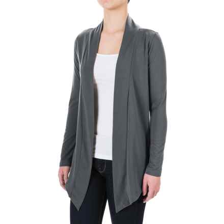 Knit Open-Front Cardigan Shirt - Long Sleeve (For Women) in Dark Grey - 2nds