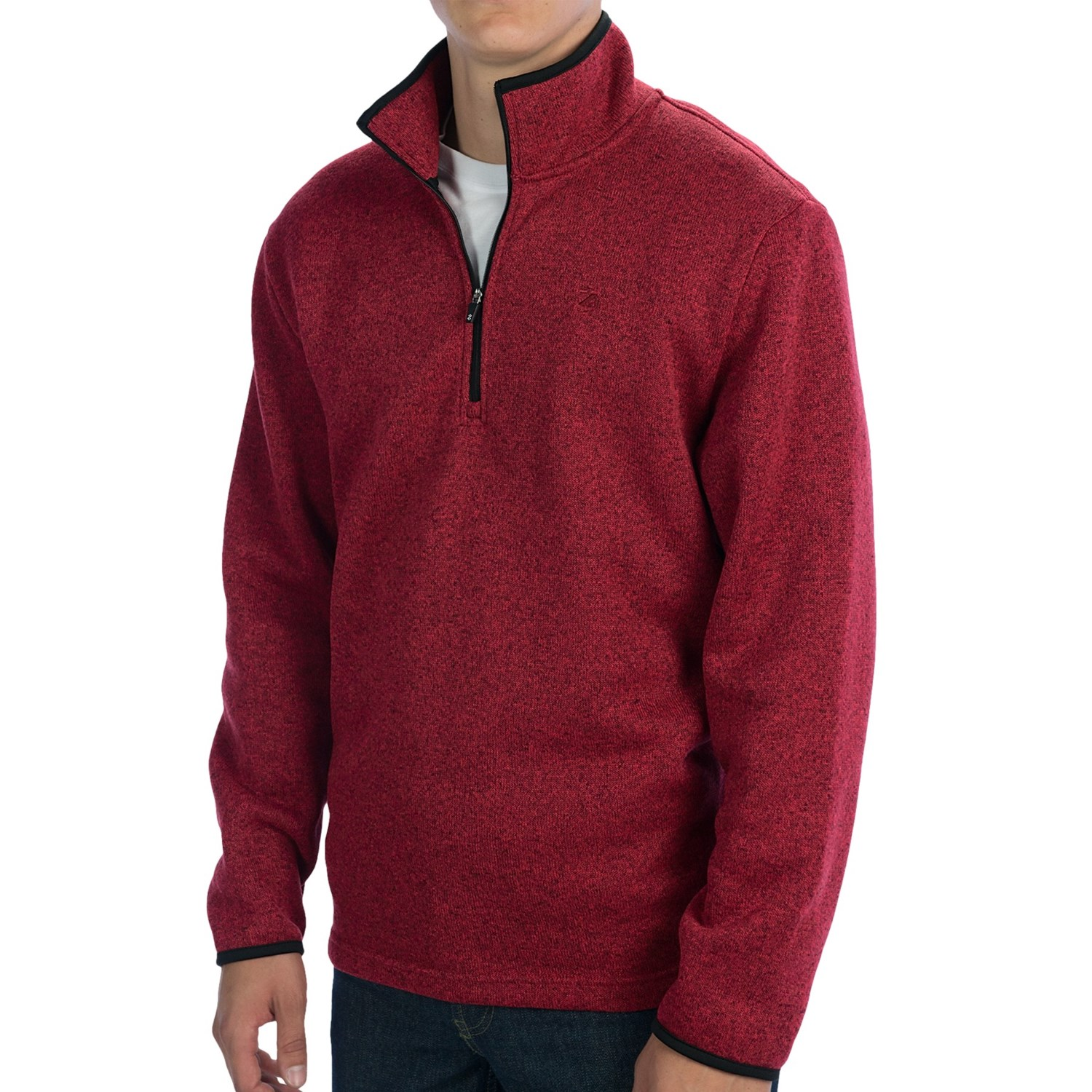 Textured Sweater-Knit Pullover Jacket - Zip Neck (For Men) - Save 49%