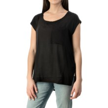 Knit-to-Woven Pocket T-Shirt - Short Sleeve (For Women) in Black - 2nds