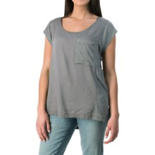 Knit-to-Woven Pocket T-Shirt - Short Sleeve (For Women) in Grey - 2nds