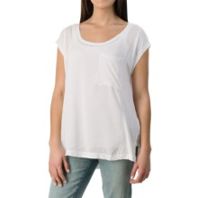 Knit-to-Woven Pocket T-Shirt - Short Sleeve (For Women) in White - 2nds