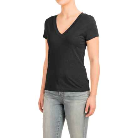 Knit V-Neck Shirt - Short Sleeve (For Women) in Black - 2nds