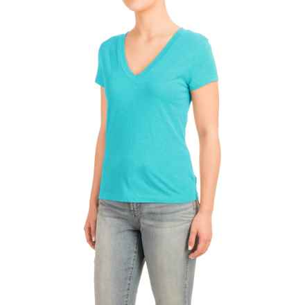 Knit V-Neck Shirt - Short Sleeve (For Women) in Blue - 2nds