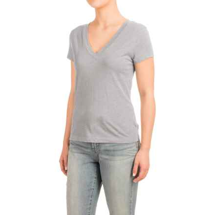 Knit V-Neck Shirt - Short Sleeve (For Women) in Grey - 2nds