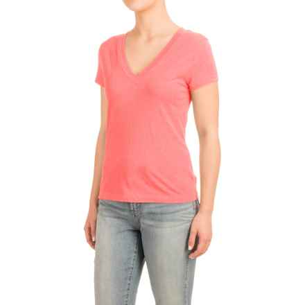 Knit V-Neck Shirt - Short Sleeve (For Women) in Peach - 2nds