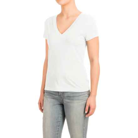 Knit V-Neck Shirt - Short Sleeve (For Women) in White - 2nds