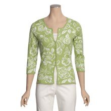 Knits with a Twist Rose Cardigan Sweater - Pima Cotton (For Women) in Grass/Ivory - Closeouts