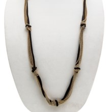 Knotted Cord-and-Chain Necklace in Black - 2nds