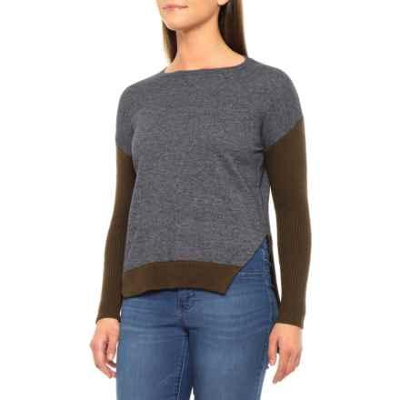 Knyt & Lynk Color-Block Multi-Gauge Drop Shoulder Shirt - Wool Blend, Long Sleeve (For Women) in Olive/Petrol Grey - Closeouts
