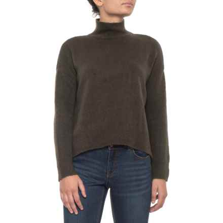Knyt & Lynk High-Low Mock Neck Sweater (For Women) in Olive - Closeouts