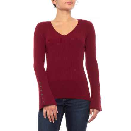 Knyt & Lynk Pullover Shirt - V-Neck, Long Bell Sleeve (For Women) in Cranberry - Closeouts