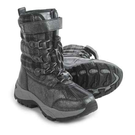 Kodiak Emma Hi-Cut Plaid Flannel Snow Boots - Waterproof, Insulated (For Little and Big Girls) in Black/Grey - Closeouts