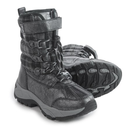 Kodiak Emma Hi-Cut Plaid Flannel Snow Boots - Waterproof, Insulated (For Little and Big Girls) in Black/Grey