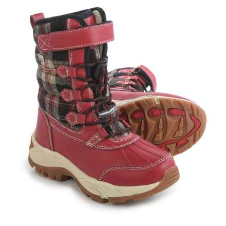 Kodiak Emma Hi-Cut Plaid Flannel Snow Boots - Waterproof, Insulated (For Little and Big Girls) in Red - Closeouts