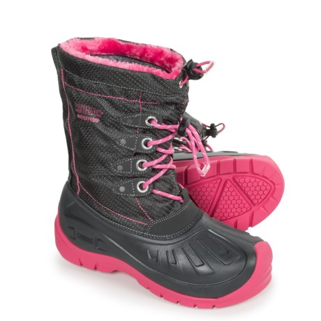 Kodiak Glo Cali Pac Boots - Waterproof, Insulated (For Little and Big Girls) in Grey/Pink