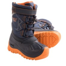 Kodiak Glo Gordy Snow Boots - Waterproof (For Boys) in Nautical Navy/Mango Tango Orange - Closeouts