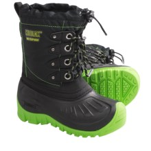 Kodiak Radley Snow Boots - Waterproof, Insulated (For Boys) in Black/Sonic Green - Closeouts