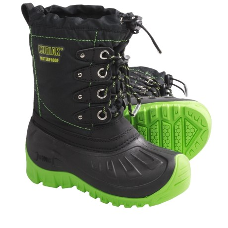 Kodiak Radley Snow Boots - Waterproof, Insulated (For Boys) in Black/Sonic Green