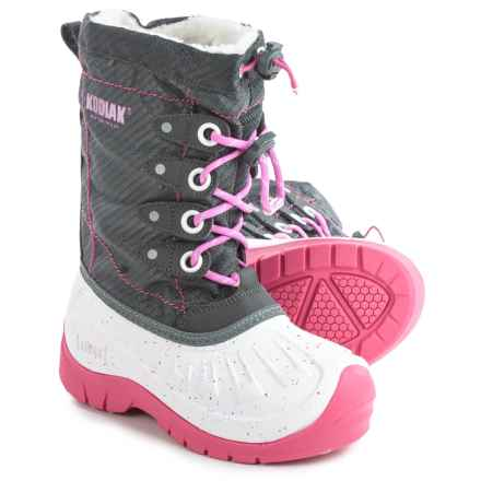 Kodiak Upaco Cali Pac Boots - Waterproof, Insulated (For Little and Big Girls) in Grey/White/Cotton Candy Pink - Closeouts