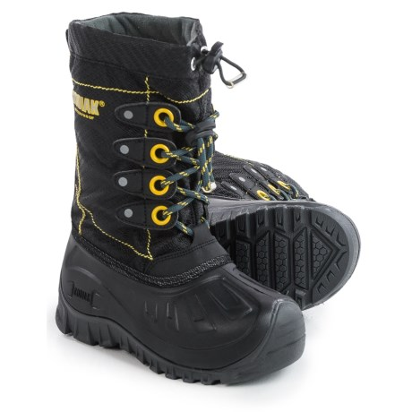 Kodiak Upaco Charlie Pac Boots - Waterproof, Insulated (For Little and Big Boys) in Black/Grey/Laser Lemon