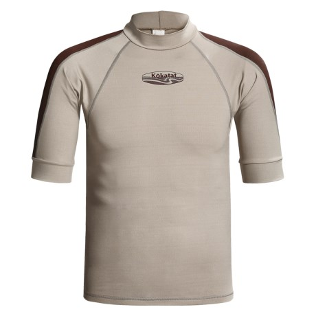 Kokatat Innercore Rash Guard - Short Sleeve, UPF 30+ (For Men) in Shale/Dark Brown