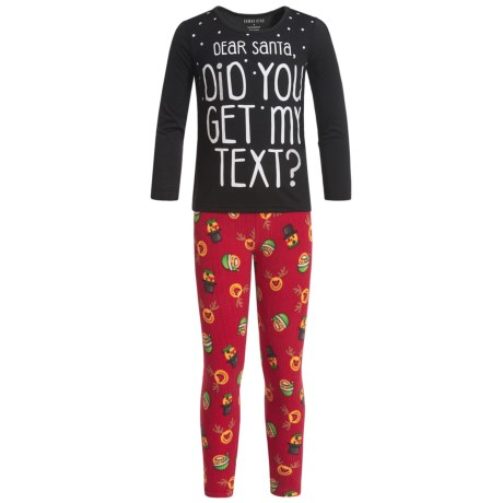 Komar Kids Did You Get My Text Pajamas - Long Sleeve (For Little and Big Girls) in Red