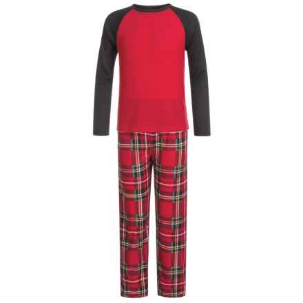 Komar Kids Holiday Plaid Thermal Pajamas - Long Sleeve (For Kids) in Red - Closeouts