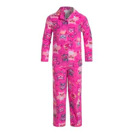 Komar Kids Owl-Star Microfleece Pajamas - Long Sleeve (For Girls) in Pink - Closeouts
