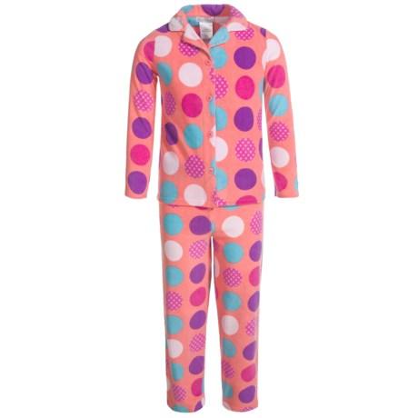 Komar Kids Polka-Dot Microfleece Pajamas - Long Sleeve (For Girls) in Coral