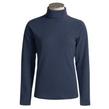 Kombi Combed Cotton Turtleneck - Long Sleeve (For Women) in Navy - Overstock