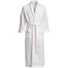 Koni Contrast Kimono Robe - Long Sleeve (For Men and Women) in White W/Orange - Closeouts