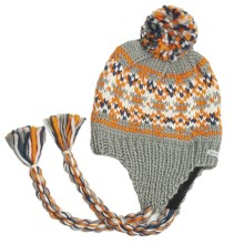 Kootenay Knitting Company Gjorvic Pom Beanie Hat - Ear Flap (For Men and Women) in Light Grey - Closeouts