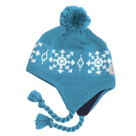 Kootenay Knitting Company Lillehammer Pom Hat - Merino Wool, Ear Flaps, (For Men and Women) in Chill