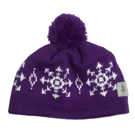 Kootenay Knitting Company Lillehammer Pom Hat - Merino Wool (For Men and Women) in Purple