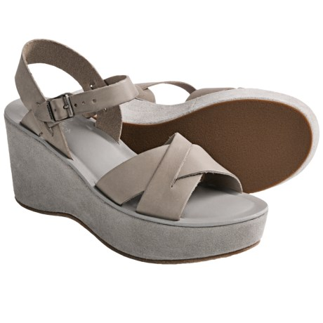 Kork-Ease Ava Wedge Sandals - Leather-Suede (For Women) in Grey