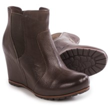 Kork-Ease Neville Wedge Ankle Boots - Leather (For Women) in Dark Brown Full Grain - Closeouts
