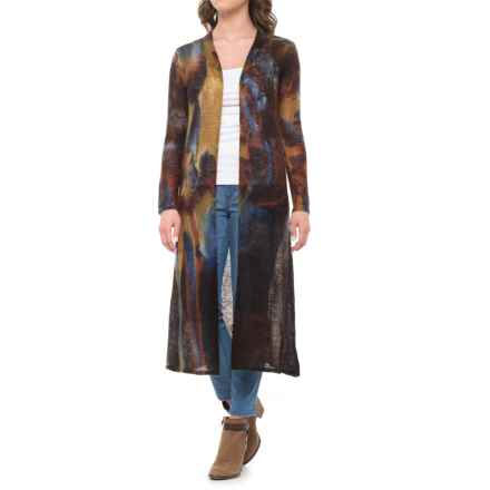 Krimson Klover Bennington Duster Sweater - Open Front (For Women) in Blue/Brown - Closeouts