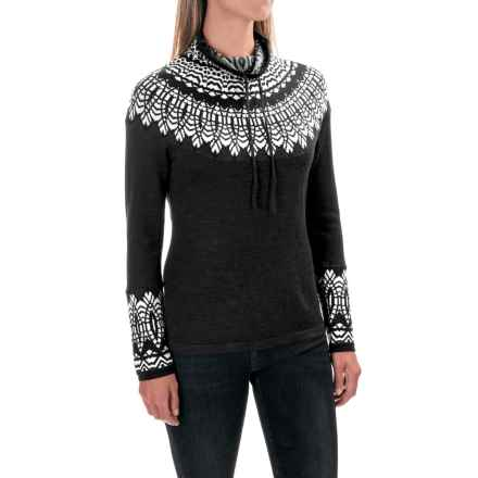 Krimson Klover Tracing Circles Sweater - Merino Wool, Funnel Neck (For Women) in Black - Closeouts