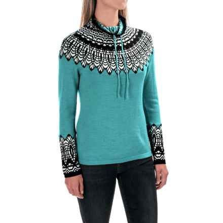 Krimson Klover Tracing Circles Sweater - Merino Wool, Funnel Neck (For Women) in Teal - Closeouts
