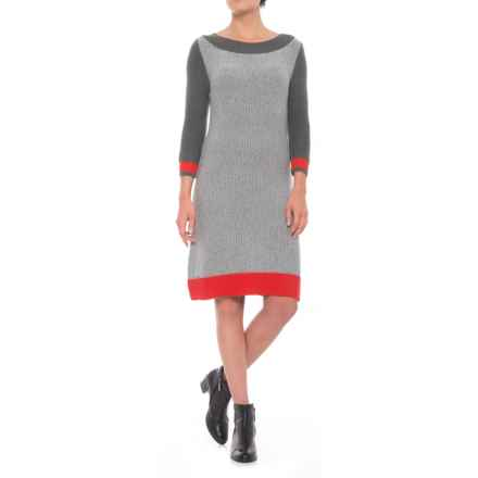 Krimson Klover Tweed Sweater Dress - 3/4 Sleeve (For Women) in High Risk Red - Closeouts