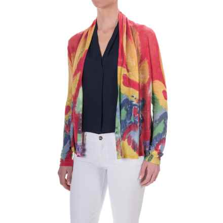 Krimson Klover Whisperer Cardigan Sweater - Linen Blend (For Women) in Poppy/Cobalt/Fuchsia - Closeouts