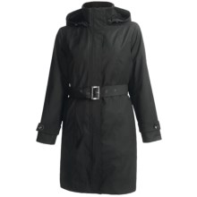 Kristen Blake Belted Raincoat - Removable Liner (For Plus Size Women) in Black - Closeouts