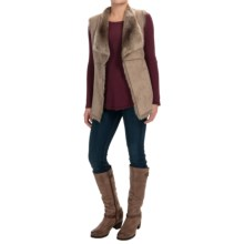 Kristen Blake Faux-Shearling Vest - Open Front (For Women) in Taupe - Overstock