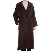 Kristen Blake Washable Wool Hooded Coat - Full Length (For Women) in Espresso Herringingbone - Closeouts
