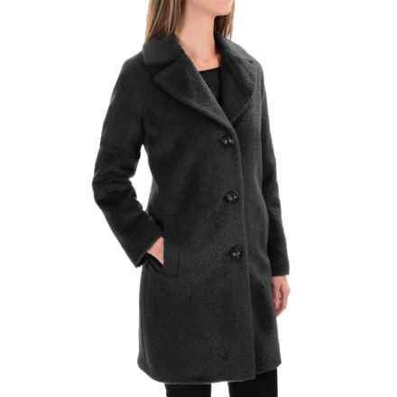 Kristen Blake Wool-Alpaca Blend Notch-Collar Coat (For Women) in Black - Overstock