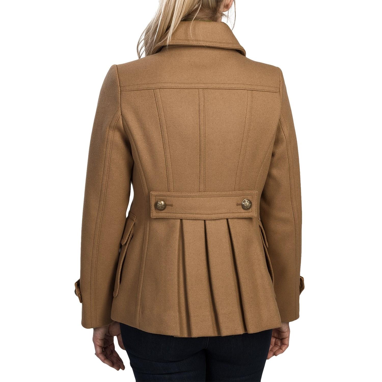 7672T_2 Kristen Blake Wool Pea Coat - Pleated Back (For Women
