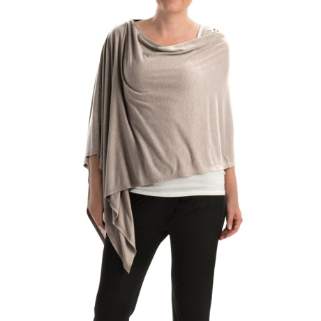 Kristy + Chloe Asymmetrical Ruana Poncho (For Women)