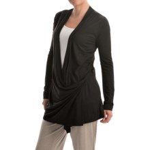 Kristy + Chloe Side-Tie Wrap Knit Shirt - Long Sleeve (For Women) in Black - Closeouts