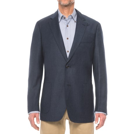 Kroon Edge 2 Breastwelt Sport Coat - Wool Blend, Elbow Patches (For Men) in Navy/Black Houndstooth